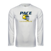 Performance White Longsleeve Shirt-Lacrosse Design