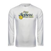 Performance White Longsleeve Shirt-Softball Design