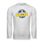 Performance White Longsleeve Shirt-Soccer Circle Design