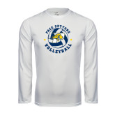 Performance White Longsleeve Shirt-Volleyball Star Design