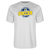 Performance White Tee-Soccer Circle Design