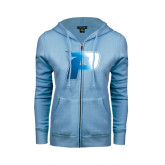 ENZA Ladies Light Blue Fleece Full Zip Hoodie-P Foil