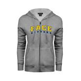ENZA Ladies Grey Fleece Full Zip Hoodie-Arched Pace Setters