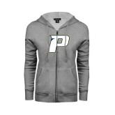 ENZA Ladies Grey Fleece Full Zip Hoodie-P