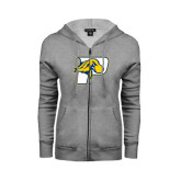 ENZA Ladies Grey Fleece Full Zip Hoodie-P w/T-Bone