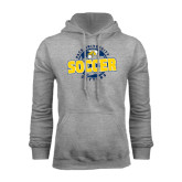 Grey Fleece Hoodie-Soccer Circle Design