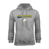 Grey Fleece Hoodie-Stacked Lacrosse Design