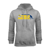 Grey Fleece Hoodie-Field Hockey Design