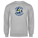 Grey Fleece Crew-Volleyball Star Design