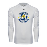 Under Armour White Long Sleeve Tech Tee-Volleyball Star Design