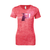 Next Level Ladies Junior Fit Fuchsia Burnout Tee-P Foil