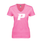 Next Level Ladies Junior Fit Ideal V Pink Tee-P