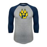 Grey/Navy Raglan Baseball T Shirt-Paw