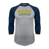 Grey/Navy Raglan Baseball T Shirt-Arched Pace Athletics