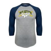 Grey/Navy Raglan Baseball T Shirt-Baseball Design
