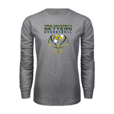 Grey Long Sleeve T Shirt-Graphics on Basketball