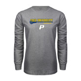 Grey Long Sleeve T Shirt-Stacked Lacrosse Design