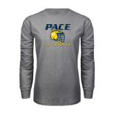 Grey Long Sleeve T-Shirt-Lacrosse Design