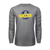 Grey Long Sleeve T-Shirt-Soccer Circle Design