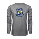 Grey Long Sleeve T-Shirt-Volleyball Star Design