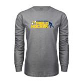 Grey Long Sleeve T Shirt-Field Hockey Design