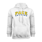White Fleece Hoodie-Arched Pace Setters