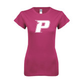 Ladies SoftStyle Junior Fitted Fuchsia Tee-P