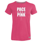 Ladies Russell Pink Essential T Shirt-PACE Goes Pink