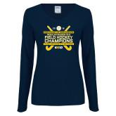 Ladies Navy Long Sleeve V Neck Tee-2018 NE10 Field Hockey Champions