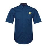 Navy Twill Button Down Short Sleeve-P w/T-Bone