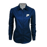 Ladies Navy Twill Button Down Long Sleeve-P