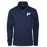 Navy Slub Fleece 1/4 Zip Pullover-P
