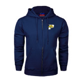 Navy Fleece Full Zip Hoodie-P w/T-Bone