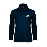 Ladies Fleece Full Zip Navy Jacket-P w/T-Bone