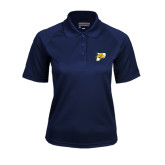 Ladies Navy Textured Saddle Shoulder Polo-P w/T-Bone