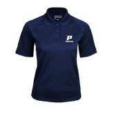 Ladies Navy Textured Saddle Shoulder Polo-Baseball