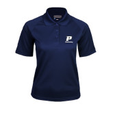 Ladies Navy Textured Saddle Shoulder Polo-Cheerleading