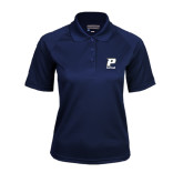 Ladies Navy Textured Saddle Shoulder Polo-Softball
