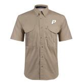 Khaki Short Sleeve Performance Fishing Shirt-P