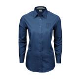 Ladies Deep Blue Tonal Pattern Long Sleeve Shirt-P