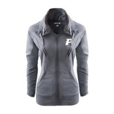 Ladies Sport Wick Stretch Full Zip Charcoal Jacket-P