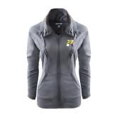 Ladies Sport Wick Stretch Full Zip Charcoal Jacket-P w/T-Bone