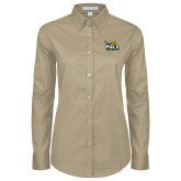 Ladies Khaki Twill Button Down Long Sleeve-Official Logo
