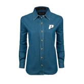 Ladies Denim Long Sleeve Shirt-P