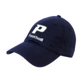 Navy Twill Unstructured Low Profile Hat-Football