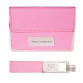 Business Card Case and Key Ring Set Pink-Pace Athletics Engraved