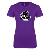 Next Level Ladies SoftStyle Junior Fitted Purple Tee-Lion PC