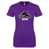 Next Level Ladies SoftStyle Junior Fitted Purple Tee-Mom
