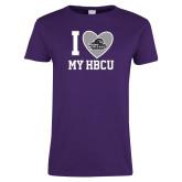 Ladies Purple T Shirt-I Heart My HBCU