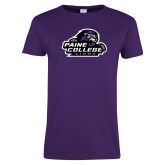 Ladies Purple T Shirt-Primary Mark Distressed